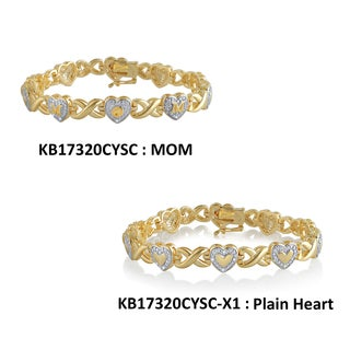 Divina Goldtone Diamond Accent Fashion Heart Bracelet