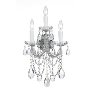 Crystorama Maria Theresa Collection 3-light Polished Chrome/Crystal Wall Sconce