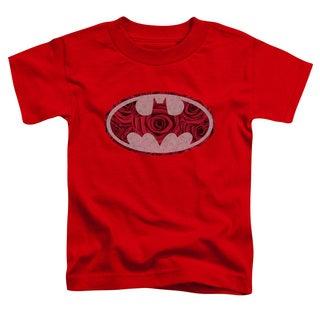 Batman/Rosey Signal Short Sleeve Toddler Tee in Red
