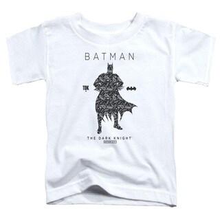 Batman/Paislety Silhouette Short Sleeve Toddler Tee in White