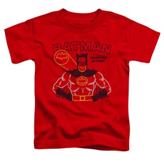 Batman/Ready For Action Short Sleeve Toddler Tee in Red