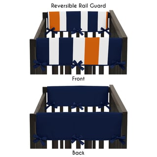 Sweet Jojo Designs Side Crib Rail Guard Covers for the Navy Blue and Orange Stripe Collection