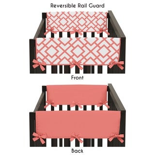 Sweet Jojo Designs Microfiber Side Crib Rail Guard Covers for the White and Coral Mod Diamond Collection