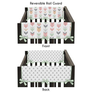 Sweet Jojo Designs Microfiber Side Crib Rail Guard Covers for the Coral and Mint Mod Arrow Collection
