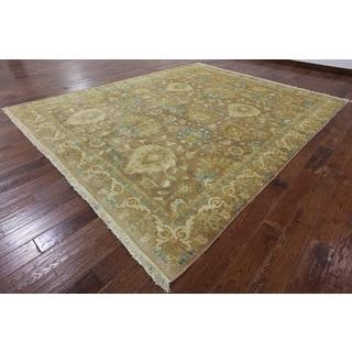 Hand-Knotted Oriental Peshawar Brown Wool Rug (9' 1 X 11' 3)