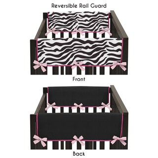 Sweet Jojo Designs Pink Microsuede Funky Zebra Collection Side Crib Rail Guard Covers (Set of 2)
