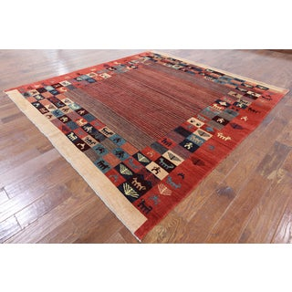 Hand-Knotted Oriental Gabbeh Multi Wool Rug (8' 1 X 8' 8)