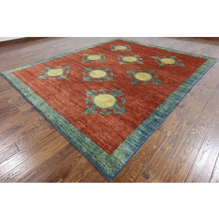 Hand-Knotted Oriental Gabbeh Orange Wool Rug (8' 6 X 9' 10)