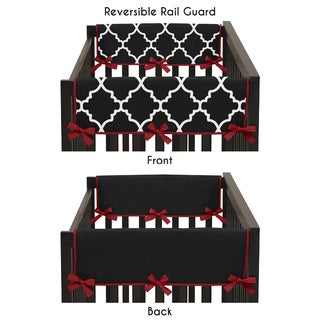 Sweet Jojo Designs Trellis Collection Red/Black 2-piece Side Crib Rail Guard Cover Set