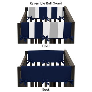 Sweet Jojo Designs Navy Blue and Grey Stripe Collection Crib Side Rail Guard Covers (Set of 2)