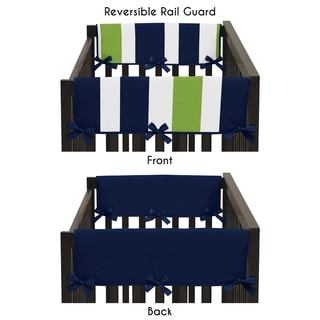 Sweet Jojo Designs Navy Blue and Lime Green Stripe Collection 2-piece Side Crib Rail Guard Cover Set