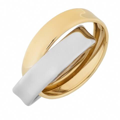 10k Two-tone Gold Stylish Interlocking Double Band Ring