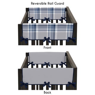 Sweet Jojo Designs Navy Blue and Grey Plaid Collection Plastic Reversible Side Crib Rail Guard Covers (Set of 2)
