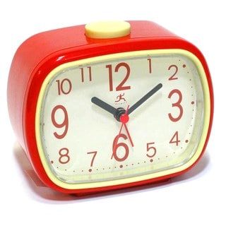 Infinity Instruments 3.75 in Retro Alarm - Red Tabletop Clock