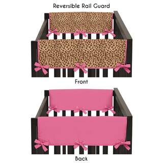 Sweet Jojo Designs Cheetah Girl Collection Pink/Brown Microsuede Crib Rail Guard Covers