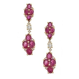 Anika and August 14K Yellow Gold Thai Ruby and Diamond Earrings