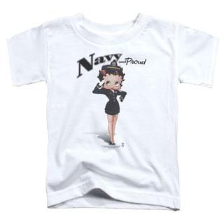 Boop/Navy Boop Short Sleeve Toddler Tee in White