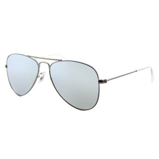 Ray-Ban Junior RJ 9506 250/30 Matte Gunmetal Metal Aviator Sunglasses with Grey Flash Mirror Lens