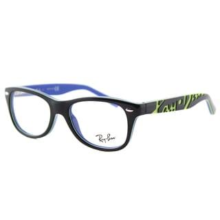 Ray-Ban Junior Dark Grey on Blue Plastic Rectangle Eyeglasses