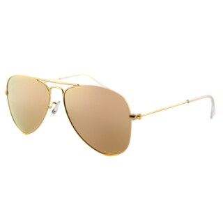Ray-Ban Junior RJ 9506 249/2Y Matte Gold Metal Aviator Sunglasses with Gold Flash Mirror Lenses