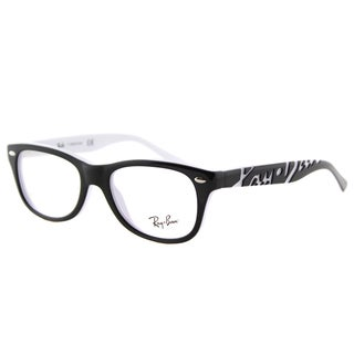Ray-Ban Junior Black on White Plastic Rectangle Eyeglasses