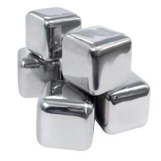 Epicureanist Stainless Steel Ice Cubes (Set of 6, 12 Cubes)