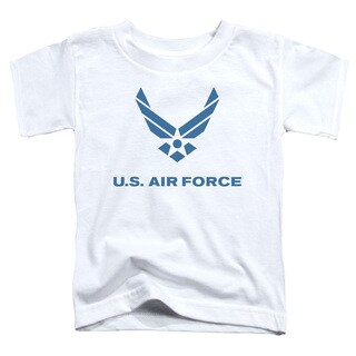 Air Force/Distressed Logo Short Sleeve Toddler Tee in White