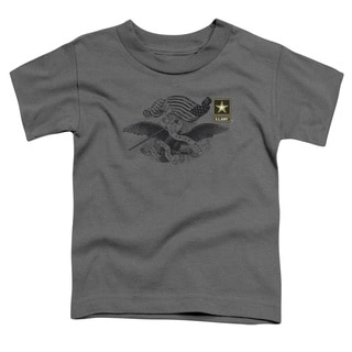 Army/Left Chest Short Sleeve Toddler Tee in Charcoal