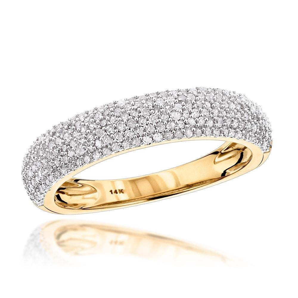 Luxurman 14k Gold 1/2ct TDW Micro Pave Diamond Wedding Ba...