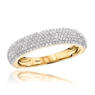 Luxurman 14k Gold 1 2ct TDW Micro Pave Diamond Wedding Band