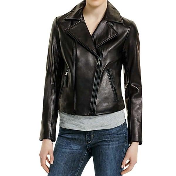 50e39e3bf4a0 Shop Michael Kors Women s Black Leather Moto Jacket - Free Shipping ...