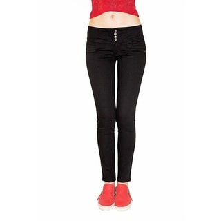 Juniors' Black Peek-a-Boo Buttlifter Jeans