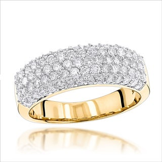 Luxurman 14k Gold 1 1/6ct TDW Pave Diamond Ring