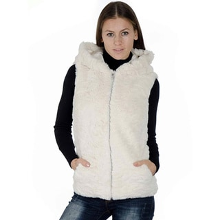 Women's Fashion Medium Length Faux Fur Jacquard Winter Hooded Vest, Zip Up With Front Pockets