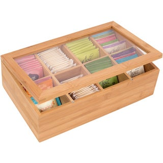 Trademark Innovations Bamboo 8-section Tea Storage Box with Clear Lid