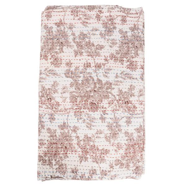 Vintage Kantha Indian Handmade Brown Floral Throw Bedspread (India)
