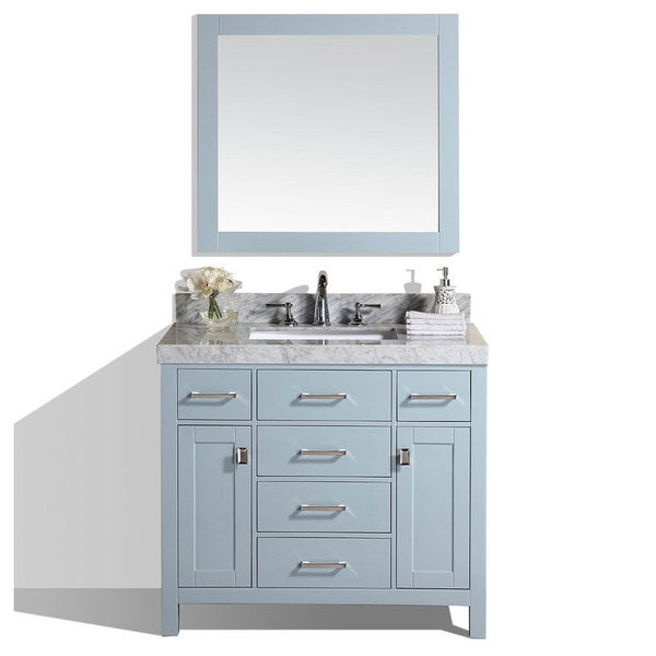 40inch malibu gray single modern bathroom vanity with white marble top
