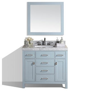 40-inch Malibu Gray Single Modern Bathroom Vanity with White Marble Top