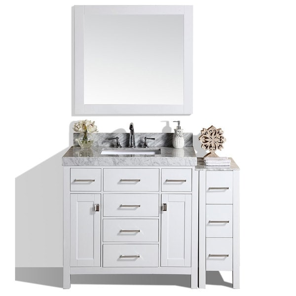 Pacific Collection Malibu 52 Inch White Single Marble Top Bathroom Vanity  With Side Cabinet