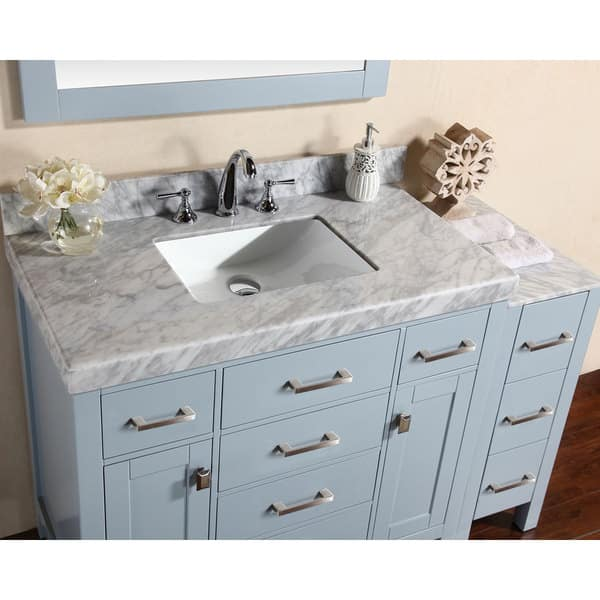 52 Inch Malibu Gray Single Bathroom Vanity With Side Cabinet And Marble Top Overstock 12407593