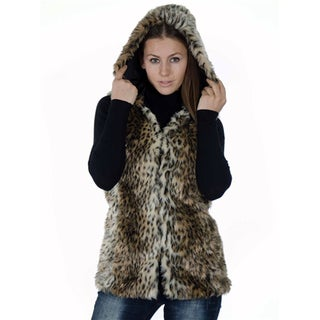 Women's Fashion Medium Length Faux Fur Jacquard Winter Hooded Vest With 2 Front Pockets