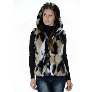 Women's Jacquard Fashion Faux Fur Hooded Vest