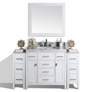 "64"" Malibu White Single Bathroom Vanity with 2 Side Cabinets & Marble"