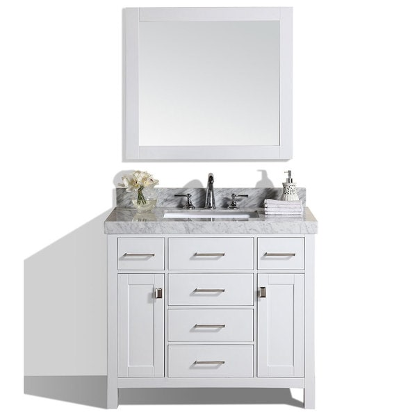 40 Inch Malibu White Single Modern Bathroom Vanity With White Marble Top