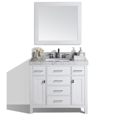 "40"" Malibu White Single Modern Bathroom Vanity with White Marble Top"