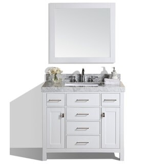 "40"" Malibu White Single Modern Bathroom Vanity with White Marble Top"