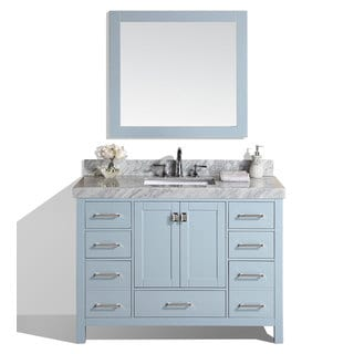 48-inch Malibu Gray Single Modern Bathroom Vanity with White Marble Top