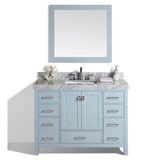 48-inch Malibu Gray Single Modern Bathroom Vanity with White Marble Top