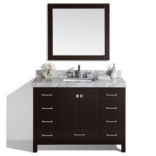 48-inch Malibu Espresso Single Modern Bathroom Vanity with White Marble Top