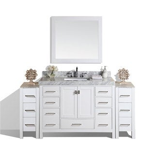 72-inch Malibu White Single Bathroom Vanity with 2 Side Cabinets & Marble Top